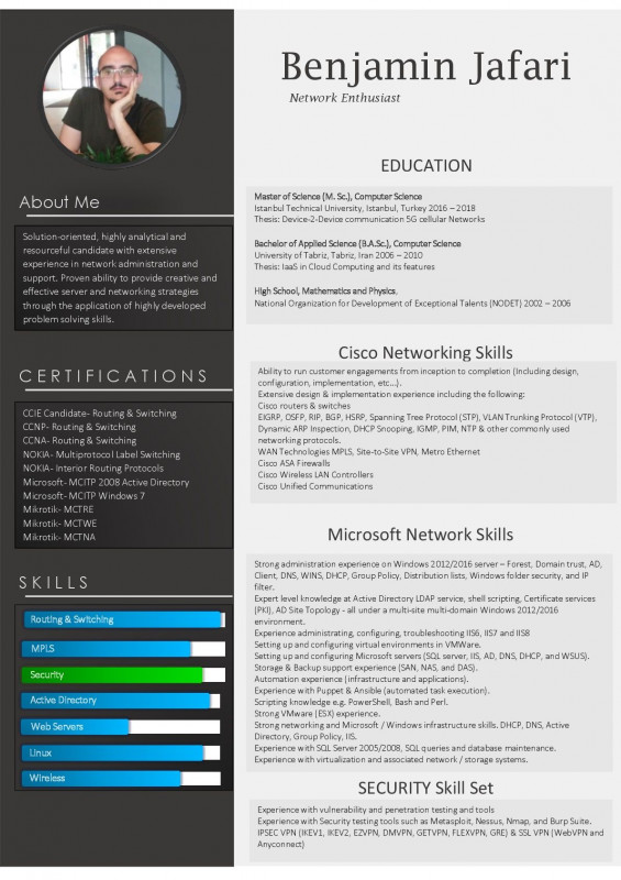 Networking Card Template Awesome Resume Format For Ccna Network Engineer Fresher