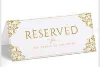 Place Card Size Template New Vintage Wedding Reserved Signs Tent Nadine Gold Templett
