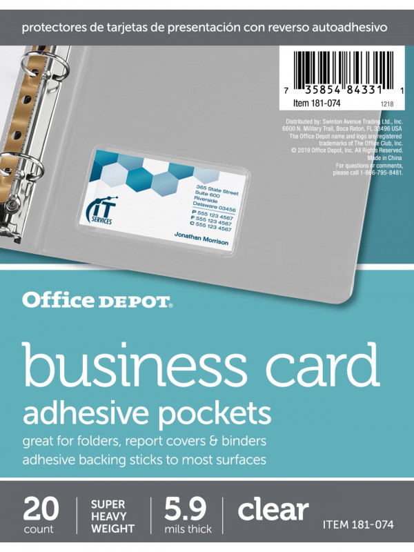 Plain Business Card Template Word Unique Office Depot Adhesive Card Pockets 20 Pk Office Depot