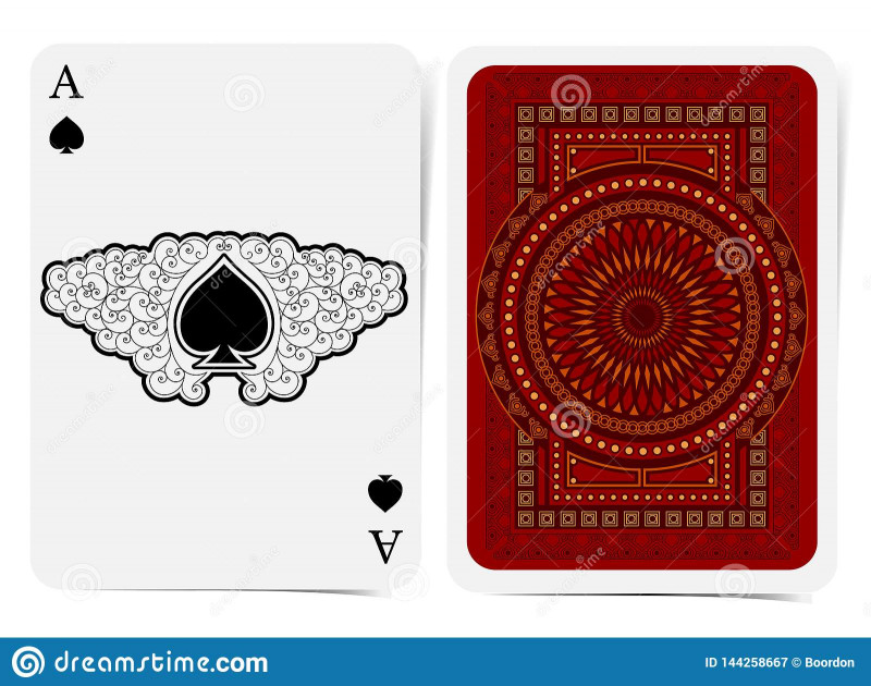 Playing Card Template Illustrator Unique Ace Of Spades Face With Spades Inside Curly Pattern And Back