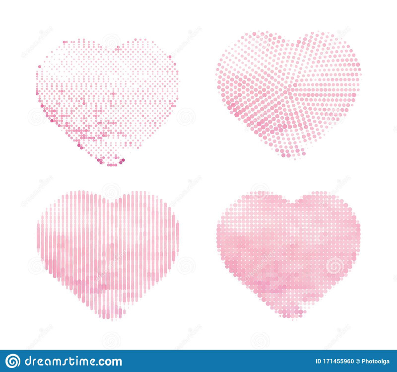 Pop Out Heart Card Template New Halftone Vector Hearts On White Background Set Of Simple