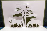 Pop Up Box Card Template Awesome Two Horses with Tree Pop Up Card Template From Cahier De