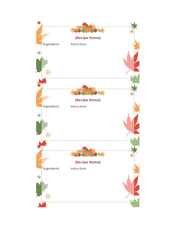 Pop Up Tree Card Template Awesome 47 Free Recipe Card Templates Word Google Docs