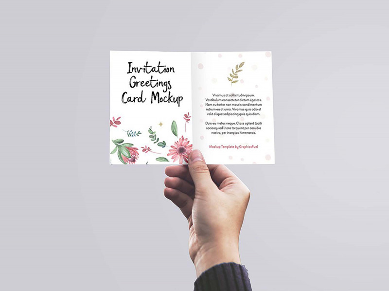 Psd Name Card Template Unique Free Invitation Greeting Card In Hand Mockup Psd