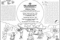 Rate Card Template Word Unique Childrens Menus Kids Coloring Menus for Restaurants