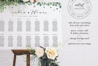 Reserved Cards for Tables Templates New Eucalyptus Seating Chart Template Wedding Seating Sign