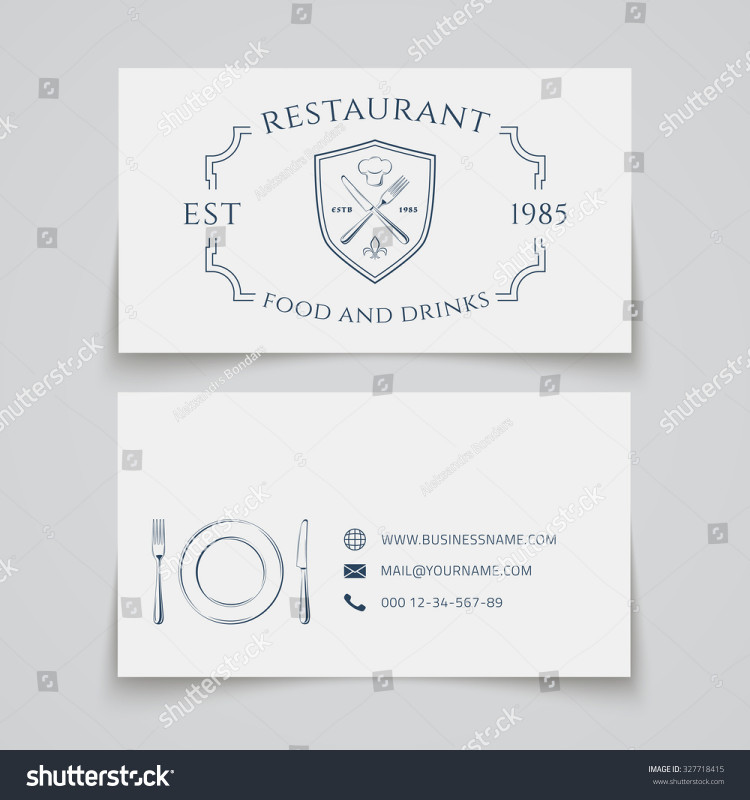 Restaurant Business Cards Templates Free New Business Card Template Logo Restaurant Cafe Stock Vector