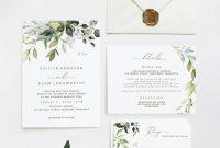 Sample Wedding Invitation Cards Templates Awesome Greenery Wedding Invitation Template Suite Set 5 X 7