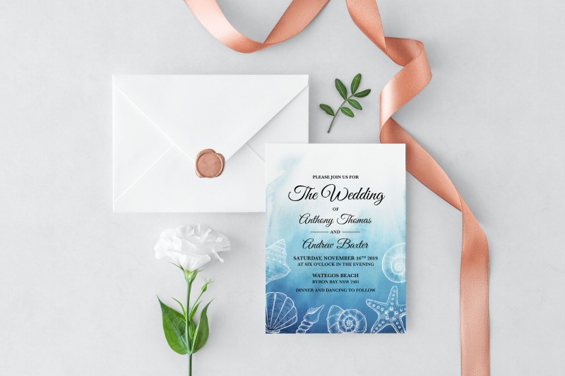 Sample Wedding Invitation Cards Templates Unique Ocean Dreams Wedding Invitation