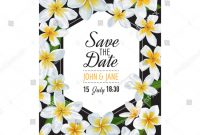 Save the Date Cards Templates New Wedding Invitation Template Plumeria Flowers Tropical Stock