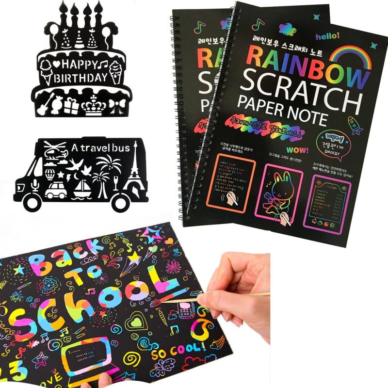 Scratch Off Card Templates Unique Humars Scratch Art Activity Books For Kids 20 Big 10 X 7 25 Sheet Rainbow Scratch Paper Set With Stylus Scratchers Stencils Diy Painting Doodle