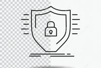 Shield Id Card Template New Defence Firewall Protection Safety Shield Line Icon On