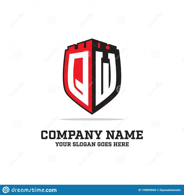 Shield Id Card Template New Q W Initial Logo Designs Shield Logo Template Letter Logo