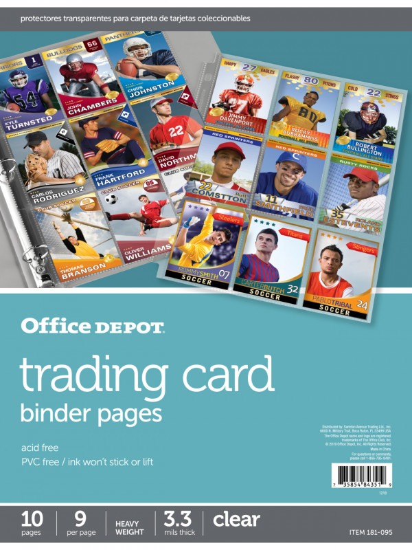 Soccer Report Card Template Unique Office Depot Trading Card Binder Pages 10 Pk Office Depot