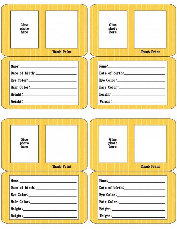 Spy Id Card Template Awesome Free Printable Id Card Templates Addictionary