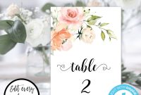 Table Number Cards Template Awesome Pin On Table Numbers Seating Charts Place Card