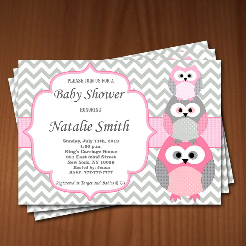 Template For Baby Shower Thank You Cards Awesome Owl Baby Shower Invitation Girl Baby Shower Invitations