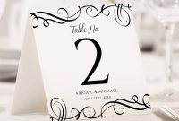 Template for Calling Card New Table Number Template Elegant Swirls Tent Templett 2