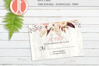 Template for Rsvp Cards for Wedding New Watercolor Rsvp Card Flowers Rsvp Printable Editable Rsvp