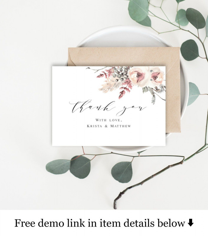 Template For Wedding Thank You Cards Awesome Thank You Cards Template Wedding Inserts 100 Editable Text
