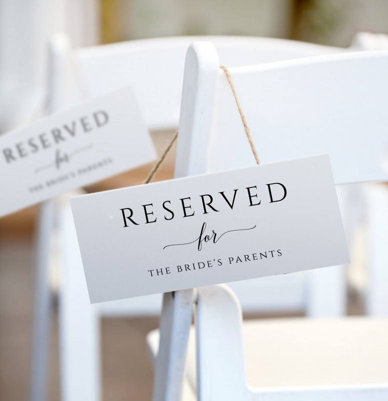 Template for Wedding Thank You Cards New Printable Reserved Sign Tent Romantic Calligraphy Large