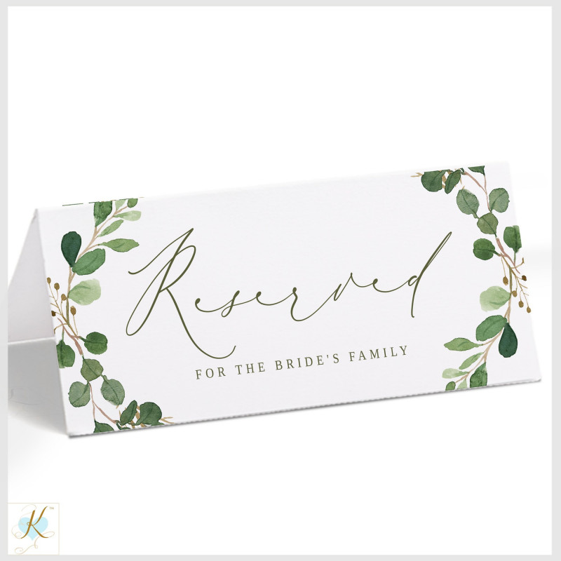 Tent Name Card Template Word Awesome Reserved Sign Template Hanging Or Tent Eucalyptus Leaves
