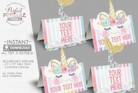 Tent Name Card Template Word Unique Food Labels Rainbow Tent Cards Birthday Party Unicorn