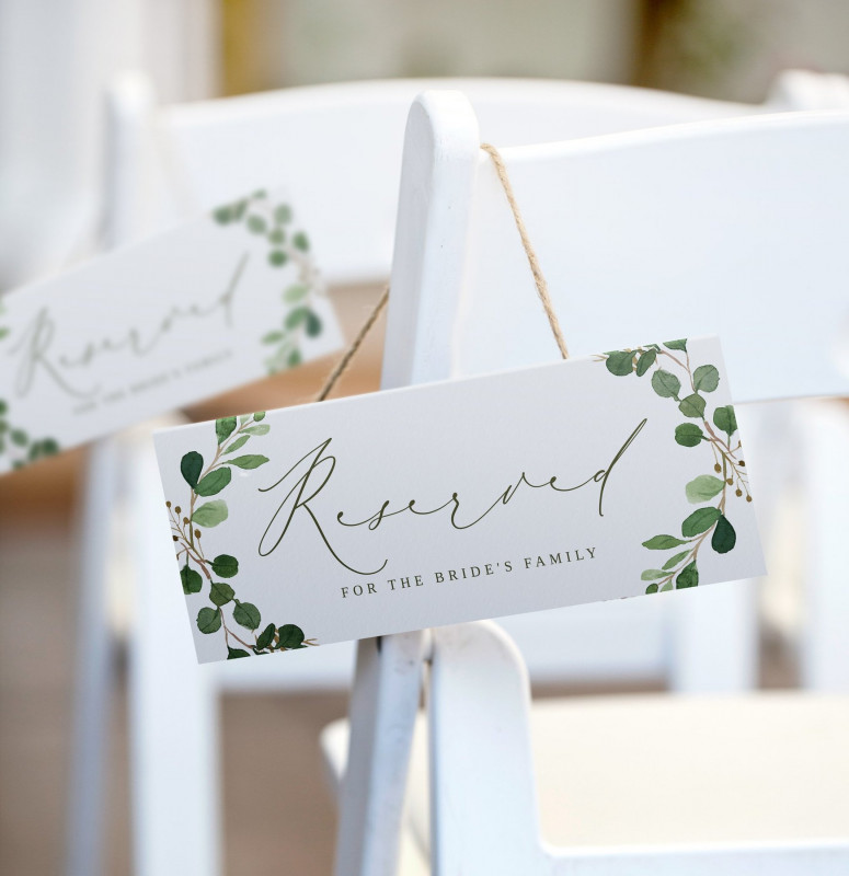 Tent Name Card Template Word Unique Reserved Sign Template Hanging or Tent Eucalyptus Leaves