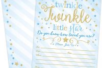 Thank You Card Template for Baby Shower Awesome Boy Twinkle Twinkle Little Star Baby Shower Invitations Blue and Gold Twinkle Twinkle Little Star Boy Baby Shower Invites 20 Fill In Style with