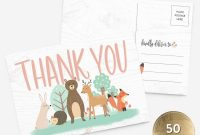 Thank You Card Template for Baby Shower New Woodland Animals Baby Shower Thank You Cards Set Of 25 5 5