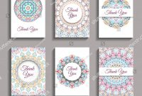 Thank You Note Cards Template Awesome Vector Invitations Set Mandala Design Elements Stock