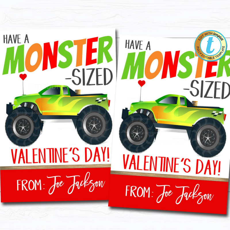 Thanks A Latte Card Template Awesome Monster Truck Valentines Boy Truck Valentine Card Gift Classroom Party School Teacher Staff Valentine Tag Diy Printable Template