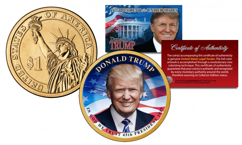 Top Trump Card Template Awesome Details About Donald Trump 45th President Official Colorized 2016 Presidential Dollar 1 Coin