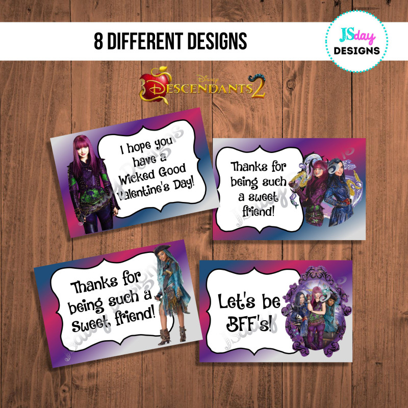Valentine Card Template for Kids Awesome Descendants 2 Valentine Card Valentines Day Valentines
