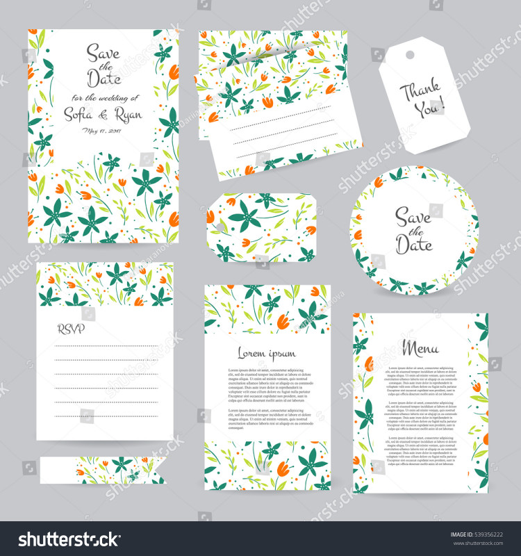 Wedding Card Size Template Awesome Vector Gentle Wedding Cards Template Flower Stock Vector