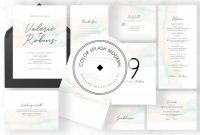 Wedding Card Size Template Unique Color Splash Modern Invitation Suite Graphic by Azkacreative25