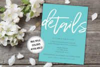 Wedding Hotel Information Card Template Awesome Teal Wedding Details Insert Card Printable Printable