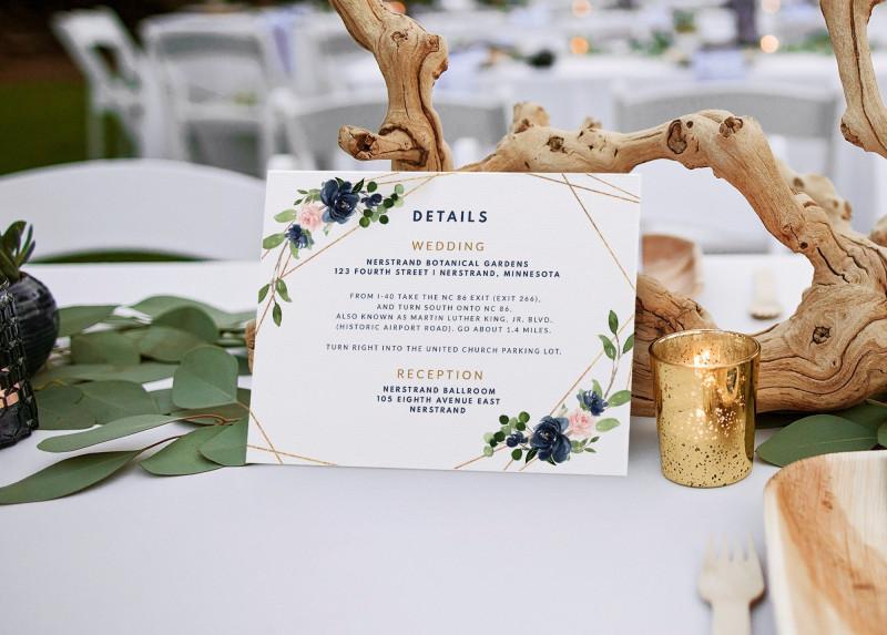 Wedding Hotel Information Card Template New Wedding Details Card Template Geometric Greenery Navy