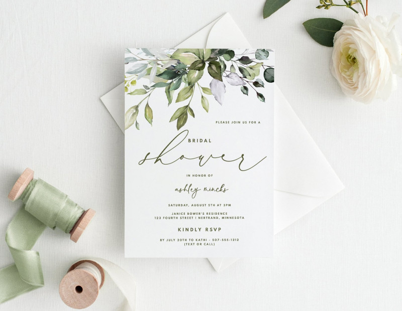 Wedding Place Card Template Free Word Unique Bridal Shower Invitations Template 5 X 7 Botanical Bliss