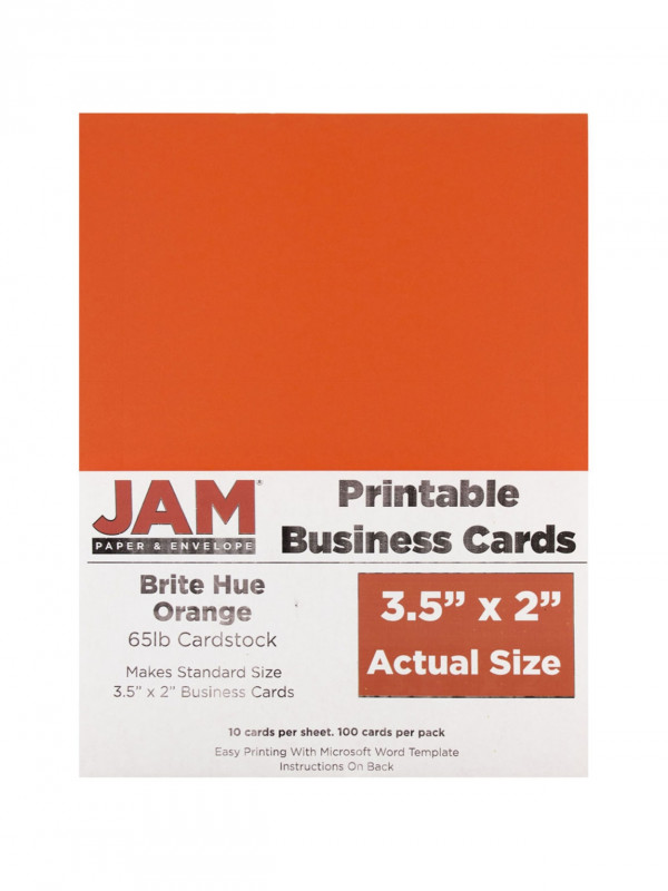 Word Template For Business Cards Free New Jam Paper Printable Business Cards 3 12 X 2 Orange 10 Cards