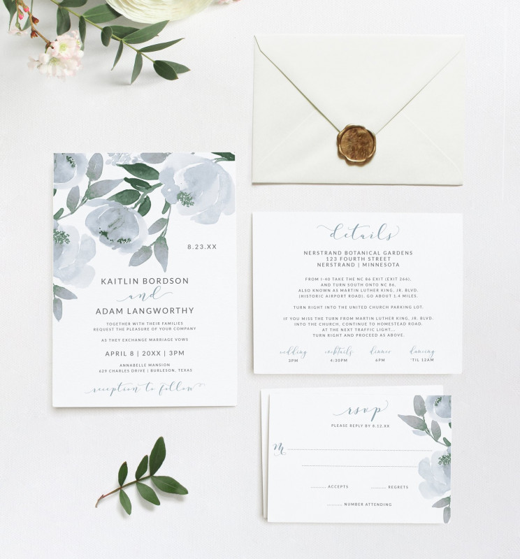 Work Id Card Template Unique Wedding Invitation Template Suite Set Dusty Blue Download