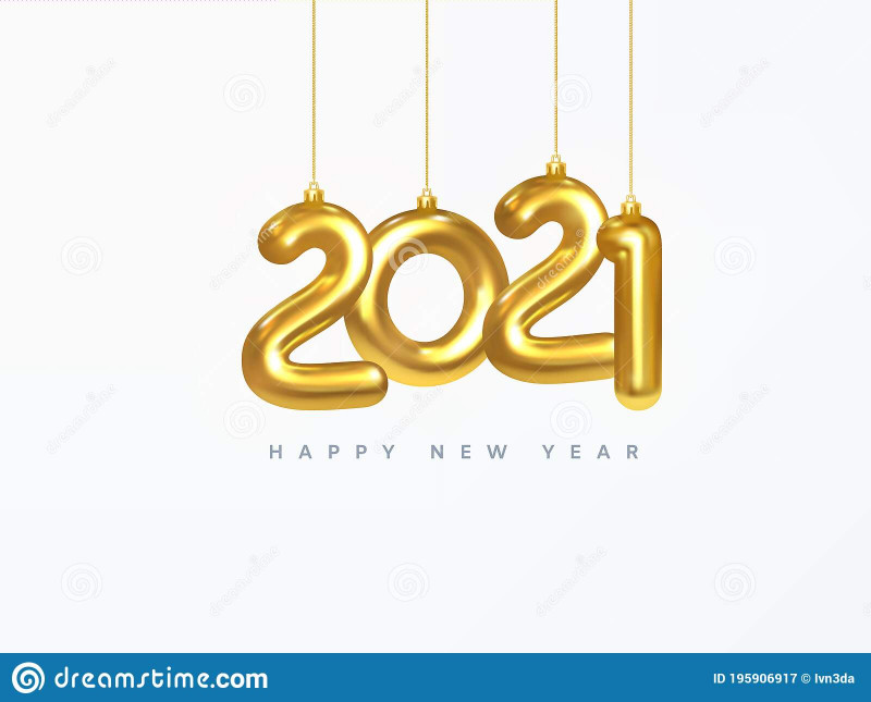 Happy New Year Card 2021 Awesome 2021 New Year Card Design Of Christmas Decorations Hanging