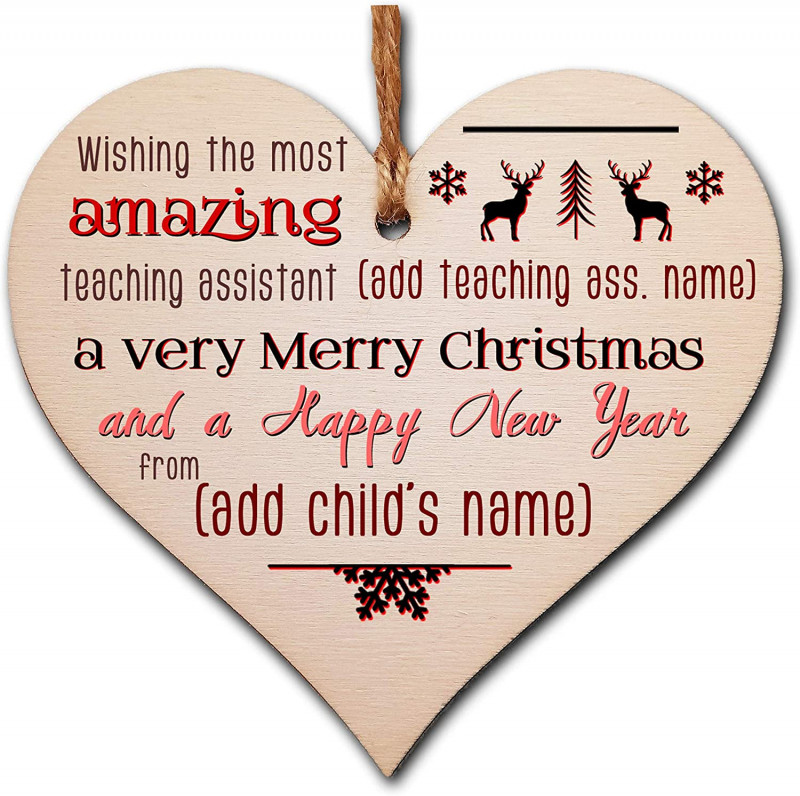 Happy New Year Messages For An Amazing 2021 Awesome Personalised Handmade Wooden Christmas Hanging Heart Plaque Gift Wishing The Most Amazing Teaching Assistant Xmas Wishes Card Alternative From Child