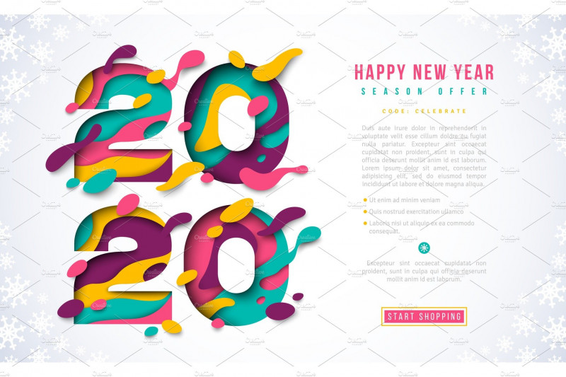 Happy New Year Wishes 2021 Awesome New Year 2020 Banner Template