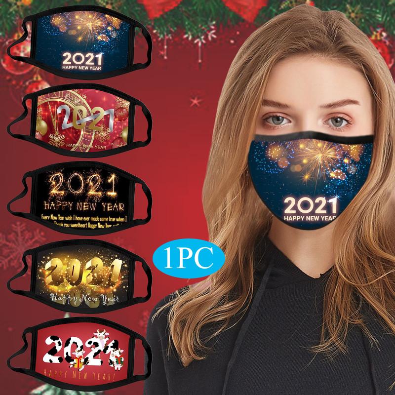 Happy New Year Wishes 2021 Awesome Weihnachten Individuelle Gesichtsmaske Masque Weihnachtsdekorationen Cartoon Masken Kind Erwachsener Mascherina Baumwolle Wiederverwendbar Waschbar
