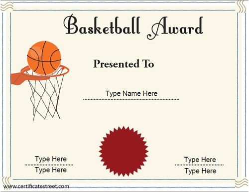 10 Basketball Sports Certificates | Certificate Templates Regarding Best Download 7 Basketball Participation Certificate Editable Templates