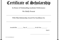 10+ Free Scholarship Award Certificate Templates (Word | Pdf) intended for Fresh 10 Scholarship Award Certificate Editable Templates