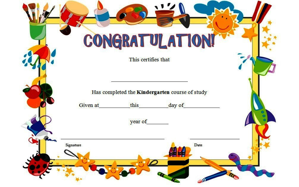 10+ Kindergarten Completion Certificate Printables Free Inside Unique 10 Kindergarten Graduation Certificates To Print Free