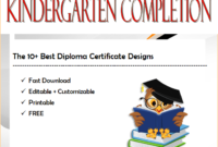 10+ Kindergarten Completion Certificate Printables Free with regard to Unique Kindergarten Diploma Certificate Templates 10 Designs Free