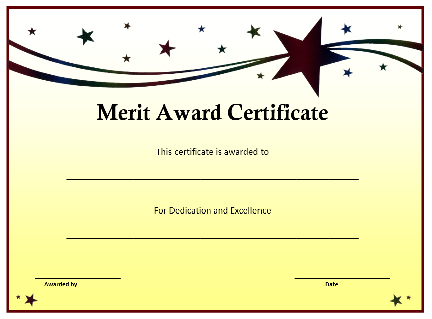 10+ Merit Certificate Templates | Word, Excel & Pdf with Fresh Merit Award Certificate Templates